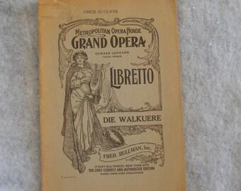 Vintage Opera Program The Valkyrie Die Walkuere Metropolitan Opera House New York Edward Johnson Knabe Piano Ad on Back English Text ~ 7388a
