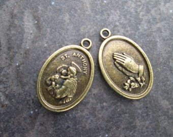 Saint Anthony Medal Charm Reverses to Praying Hands  Religious Jewelry Religious Medals