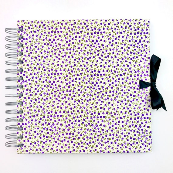 Fabric Cover Guest Book : Scrapbook album blank white pages floral fabric cover