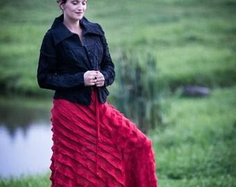 Long Flowy Skirt / Linen Clothing for Women / Long Skirt for Women / Unique Skirt / Red Skirt / Womens Long Skirt / Womens Skirt / Skirt