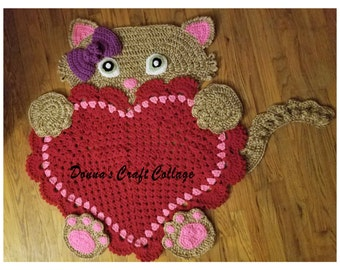 Kitty Cat Crochet Heart Rug