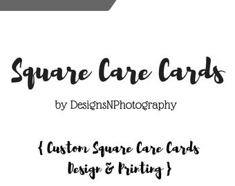 Square Custom CARE INSTRUCTION CARDS, Care cards for Garments and Accessories, Product packaging inserts, Shop supplies, Double sided