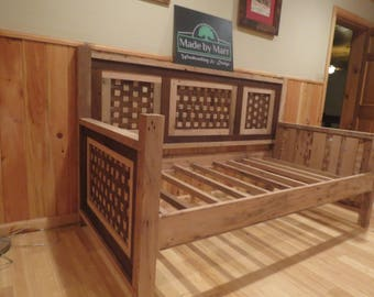 Native American Inspired Daybed Woven With Natural And Stained Wormy Chestnut