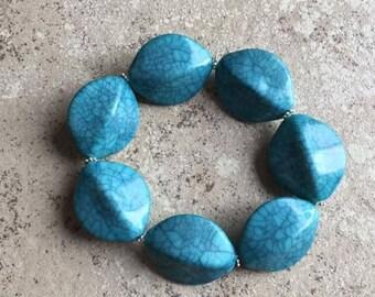 Blue Chunky Stretch Bracelet