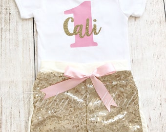 Personalised First Birthday Outfit Pink & Gold Glitter Shorts Cake Smash 1st Baby Girl Photo Prop