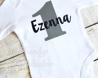 Personalised First Birthday Boys Onesie - Black Grey - Bodysuit - Photoshoot, Photo Prop, Cake Smash Gift Personalized Outfit
