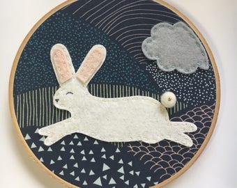 Embroidery hoop art, Wall art, white bunny, pink ears, grey cloud, blue mountains, easter, nursery room decor
