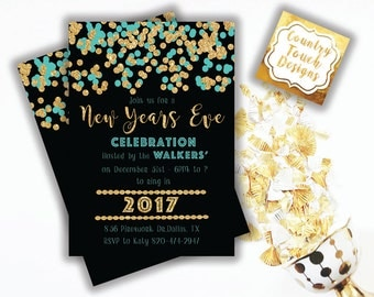 New Years Eve Celebration Party Invitation 2017 Ring Bring Gold Glitter Teal Blue Confetti Black Digital Download Professional Printing