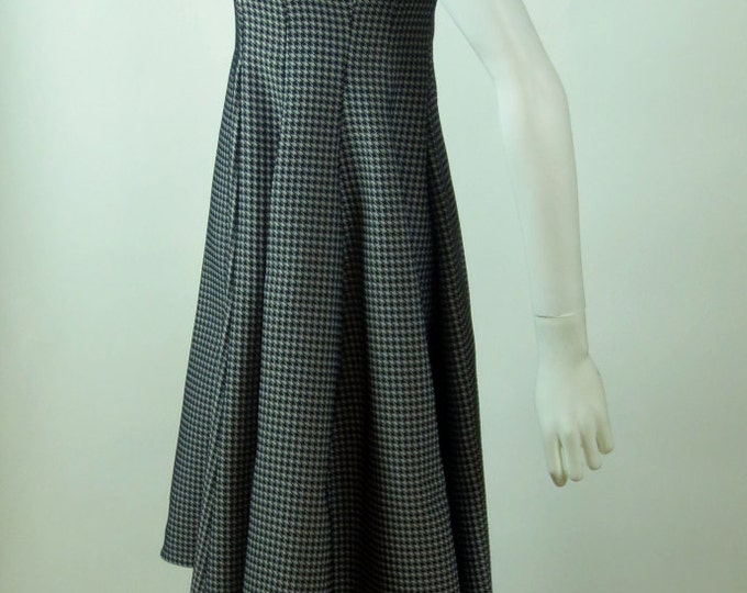 90s American Psycho herringbone sculpted trapeze fishtail dress