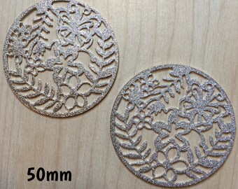 50mm silver flower glitter sparkly detail plugs for stretched ears