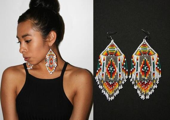Geometric Tribal Earrings, Native American Beaded Earrings, Aztec Earrings, Pyramid Earrings, Large Dangling Earrings, Statement Earrings