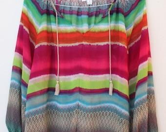 Summer Boho Tunic Top / Rainbow  Chiffon Top /  / Woman Blouse / Top/Small