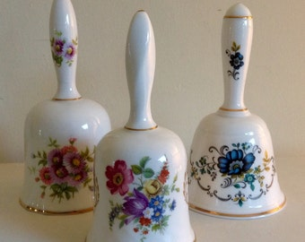 Vintage Trio of lovely Fine China Bells. Two are Hammersley. Stamped.