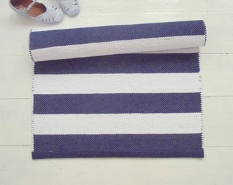 White and Navy Floor Runner, Nautical Runner Rug, White and Blue Scandinavian Rug, Handmade, Washable, Woven on the Loom, Made to Order