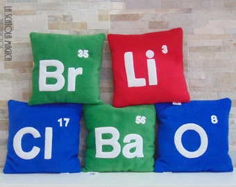 Periodic table elements cushion Handmade customizable - Plush Pillow in soft polyester fleece - Handmade