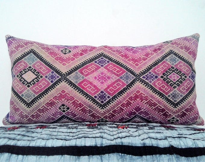 "11,5""x24"" Vintage Chinese Wedding Blanket Long Lumbar Pillow Cover / Boho Pink Tan and Indigo Ethnic Dowry Textile / Handwoven Silk Cushion"