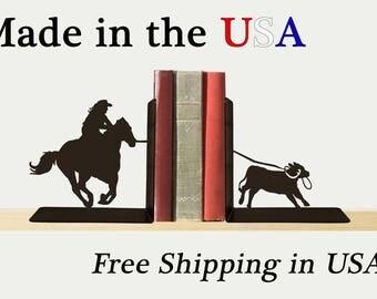 Rodeo Bookends, Fun Decor, Metal Art, Cowboy Art,  Book Shelf, Western Decor, Library, Home Decor, Free USA Shipping, BE1028