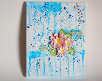 "Mixed Media Canvas Art Winter Flower 8""X10"""