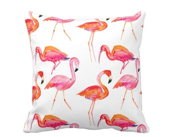 "Colorful Flamingos Print Pillow, Orange & Pink 16 or 20"" Square INDOOR or OUTDOOR Pillows, Coral Tropical Watercolor"