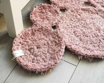Crochet Circle Rug . Powder Pink | Crochet Rug | Modern Design | Cotton Carpet | Rug Runner | Handmade Rug | Round Rug