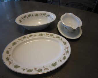 Vintage Noritake China, China Pattern Vineyard - 6449, Green Vine Leaves, Platinum Rim - Fall leaves, Dinnerware, Serving Set