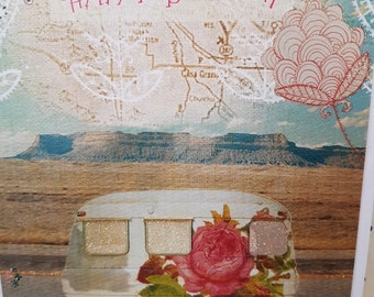 Groovy Vibes Birthday flower power card, Festival Birthday roses photo card,  Caravan shabby chic card, Camper Holiday Birthday card,