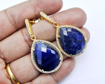 Zircon Pave Blue Gemstone Earrings in Gold Vermeil on 925 Sterling Silver, Pave Jewelry.
