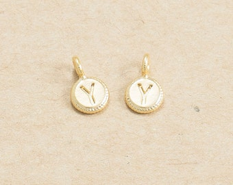 Y - Round Ring Initial Pendant, Jewelry Supplies, Brass Charm, Polished Gold Plated over Brass - 4 Pieces-[AP0126]-PG