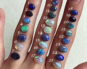 "Australian Opal ""Taylor"" rings; Sterling silver Opal ring; 14K yellow gold Opal ring"