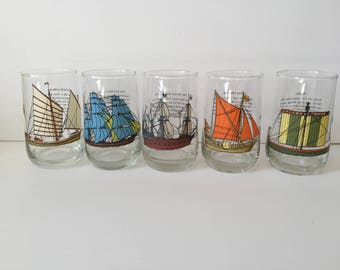 Vintage Sailing Ship Glasses..Nautical Glass Tumblers...Marine Sailing Vessel Drinking Glass Set...Famous Tall Sailing Ship Glassware..