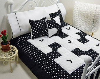 Modern Dollhouse Miniature Scale Patchwork Quilt Black White Polka Dot Bedspread Small Bedroom Little Blanket Tiny Pillow Country Doll House