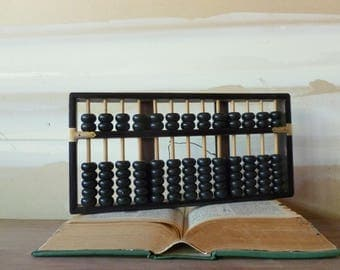Vintage Wooden Abacus / Black and Brass Japanese Abacus