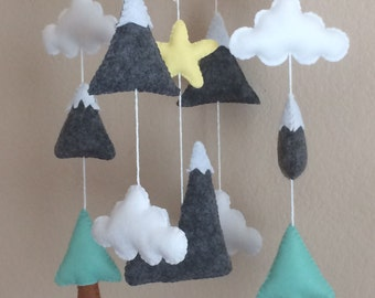 Mountain Baby Mobile,Baby Mobile Mountains,Nature Mobile,Baby Mobile Hanging,Boy Nursery Mobile,Girl Nursery Mobile,Felt Mobile,Crib Mobile