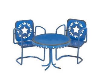 Fairy Garden  - Mini Blue Star Bistro - Set of 3 - Miniature