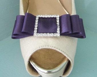Handmade Plum Triple Bow Shoe Clips with Diamante Buckle Centre
