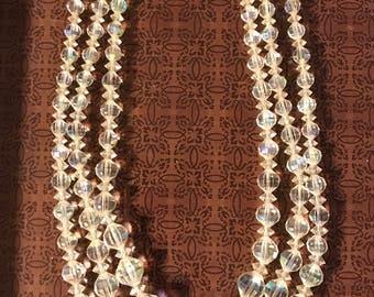 Vintage Laguna 3 Strand AB Crystal Necklace