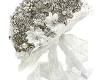 Brooch Bouquet, Brooch Bridal Bouquet, Ready to Ship, Brooch Wedding bouquet, White Bridal Bouquet