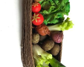 OOAK Artisan Garden Veg Basket ~ Miniature Food ~ Dolls House Miniatures
