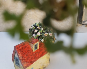 Miniature Architecture,  Ceramic Sculpture, red Roof House, flower tree, Israeli farm home, A house with a tree, yellow and red miniature
