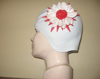 1950's Jantzen Swim Cap with Red-White Flower, A Diving Belle!