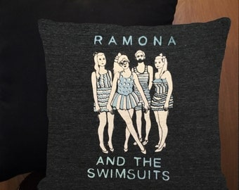 Ramona and the Swimsuits mini throw pillow