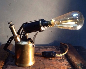 Industrial 1920's Brass Blow Torch Up-cycled Table Lamps Pat Tested 3-Cord Twist Edison Light Bulb