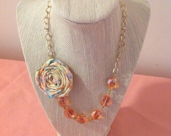 Simple Peaches and Cream Rosette Necklace