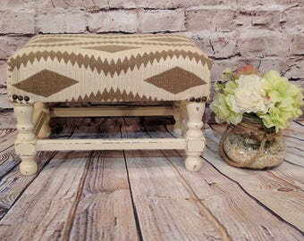 Stool - Vintage Foot Stool with an Aztec Inspired Print and Nailhead Trim - Annie Sloan Chalk Paint and Distressed