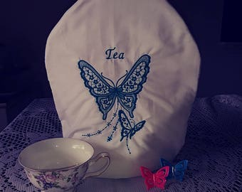 Teal Butterflies embroidered  tea cozie handmade pinklady cottage