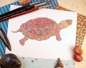 Watercolor Painted Turtle Print Greeting Card