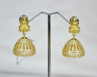 CZ cubic zirconia/American diamond lakshmi motif jhumkis | Indian Jewelry | Indian Earrings | Gold plated
