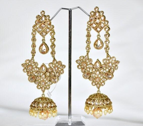 Champagne Kundan jhumkas jhumkis   | Indian Jewelry | Indian Earrings | South Indian Jewelry