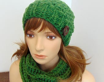 Merino Wool Knit Hat and Cowl Set - Christmas Gift for Wife - Gift for Her - Beanie Scarf Set - Made in Alaska Gift - Greenery Green Knitted
