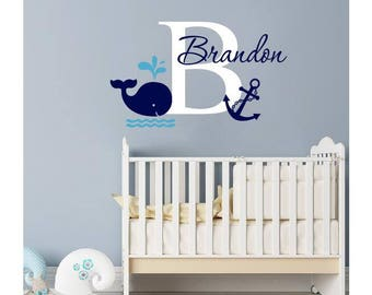 Name Wall Decal   Whale Wall Decal   Nautical Baby Room Decor  Personalized  Decal